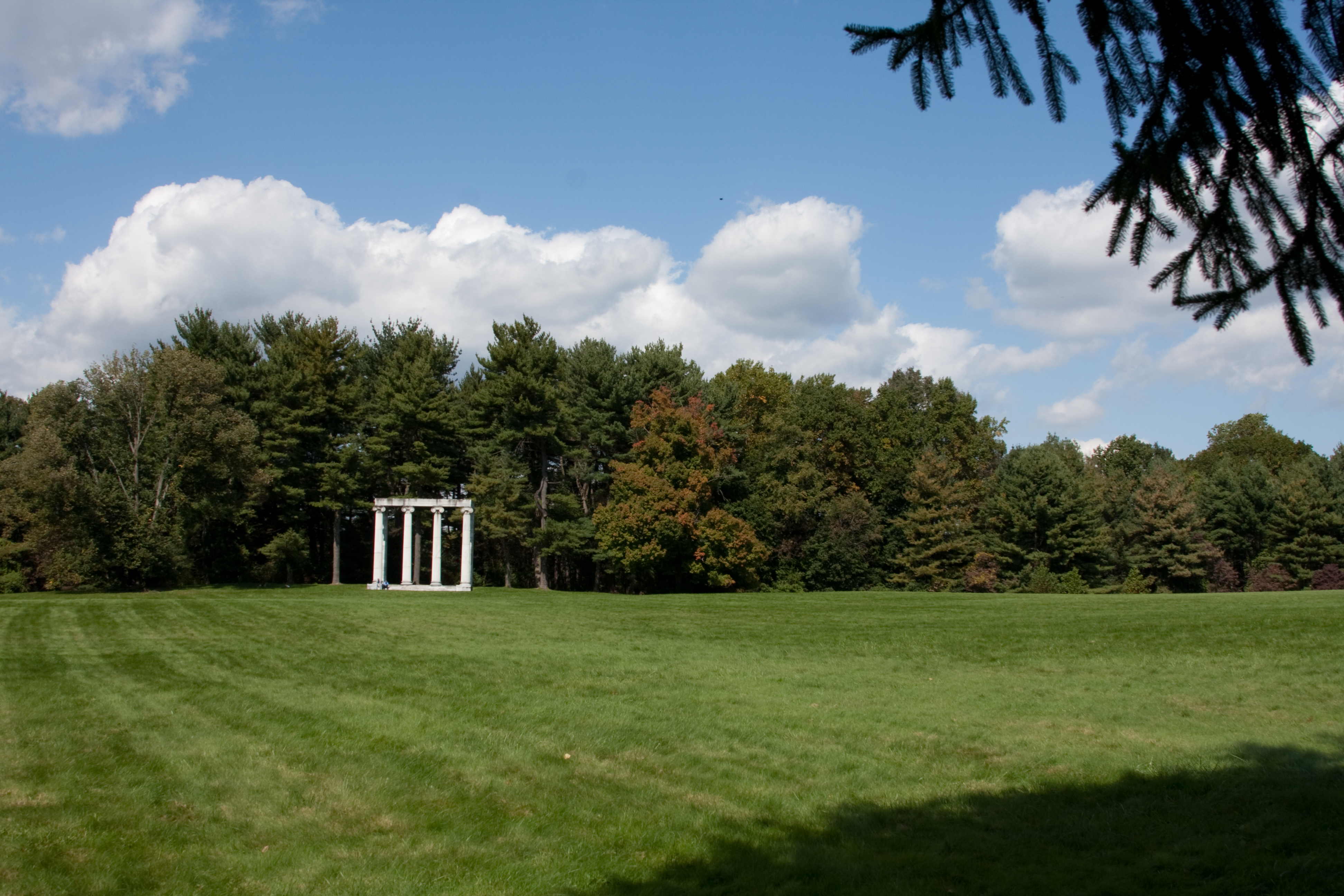View of the expansive fields of the state park in front of the monument