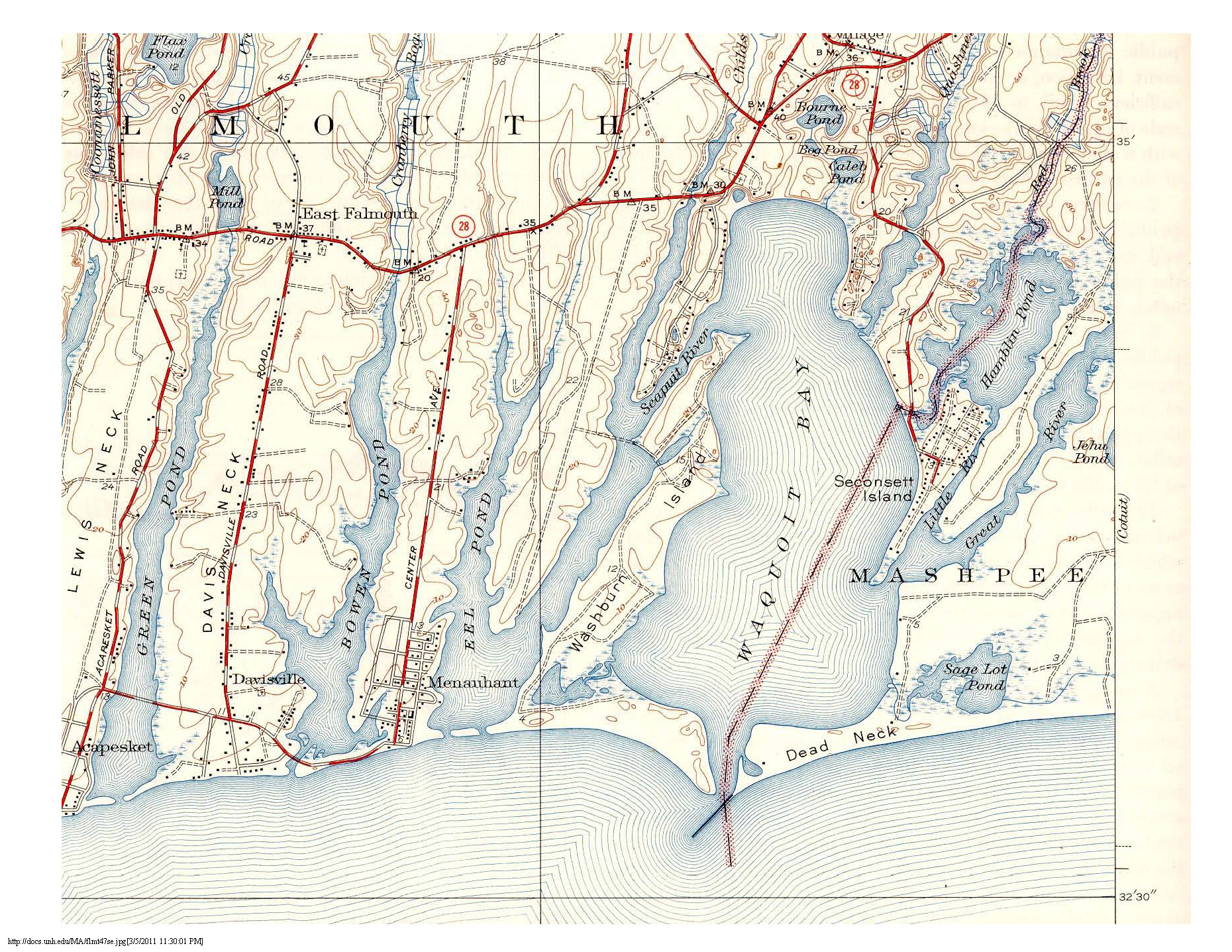 Map from 1941 depicting Waquoit Bay, Washburn Island and the peninsulas while the area was used as a military base called Camp Washburn. At this time you can see a bridge connecting what is now Seacoast Shores to Washburn Island.