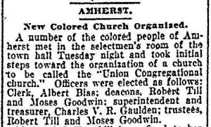 Springfield Daily Republican, August 2 1906. Ten members of Zion Chapel announce their intentions to form an independent church. Clipping from UMass Amherst Public History website.