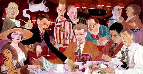 A Vicious Circle by Natalie Ascencios. Left to right: (back) Robert Benchley, Franklin Pierce Adams, Robert Sherwood, Harpo Marx, Alexander Woolcott, Marc Connelly, Edna Ferber, (front) Dorothy Parker, Harold Ross, George S. Kaufman, Heywood Broun