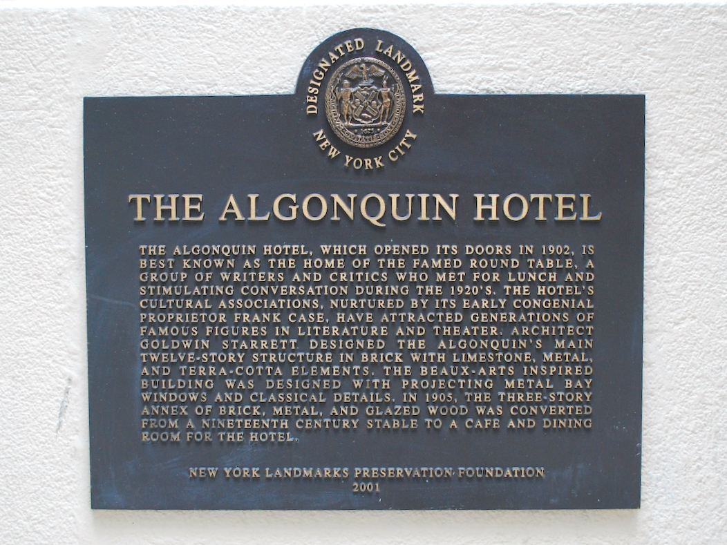 Algonquin Hotel historic marker (image from Historic Markers Database)