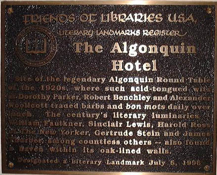 Literary Landmark marker on the Algonquin (image from Dorothy Parker Society)