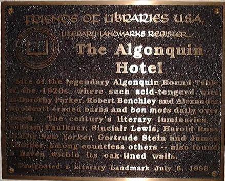 Literary Landmark marker on the Algonquin (image from Dorothy Parker Society)