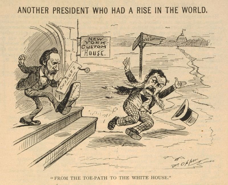 Arthur was so despised when he became President that cartoons like this one reminding readers that President Hayes had fired Arthur for corruption were common.