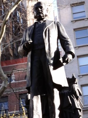 The bronze monument was sculpted by George Edwin Bissell.