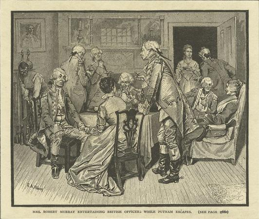 """Mrs. Robert Murray entertaining British officers while Putnam escapes,"" by E.A. Abbey (image from Ephemeral New York)"
