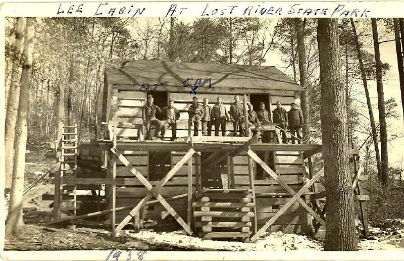 Photo of the Civilian Conservation Corps restoration of the Lee Cabin