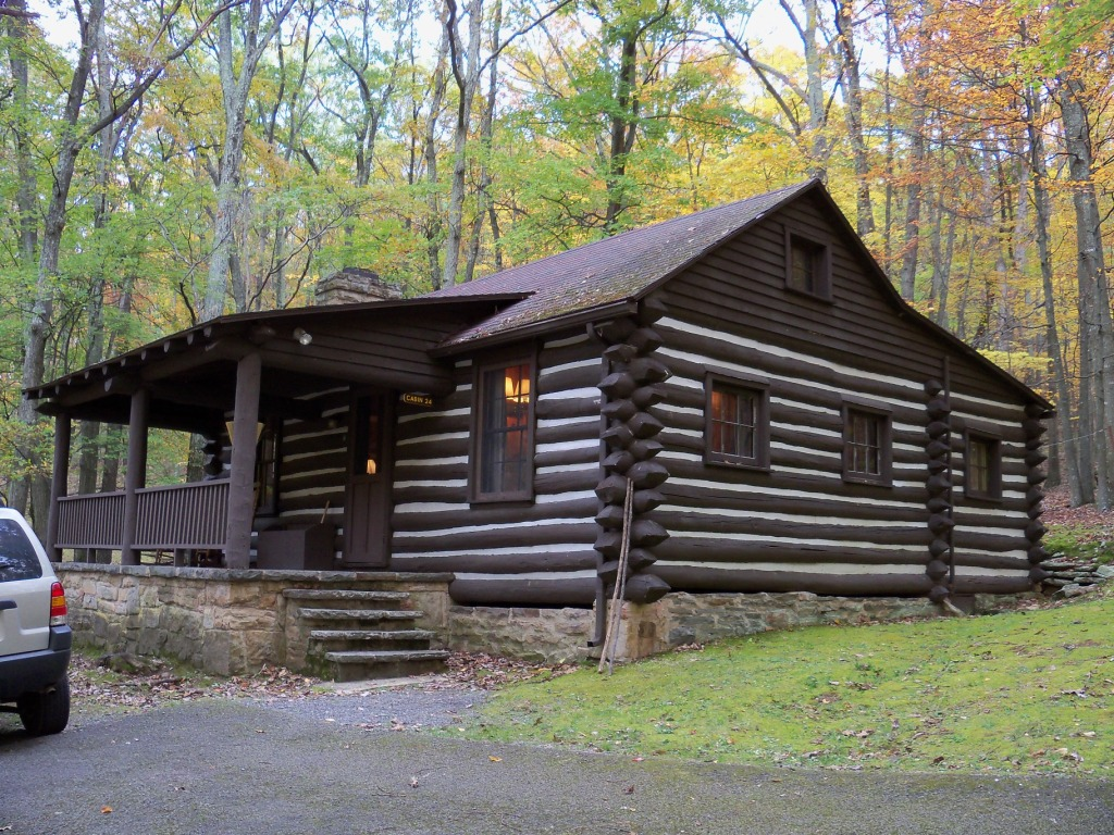 One of the many cabins located at the park today