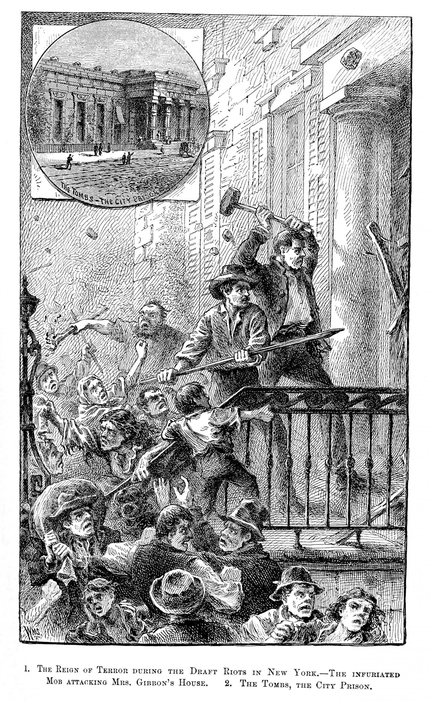 A contemporary illustration that appeared in a local New York paper shows the mob attacking the Gibbons Home