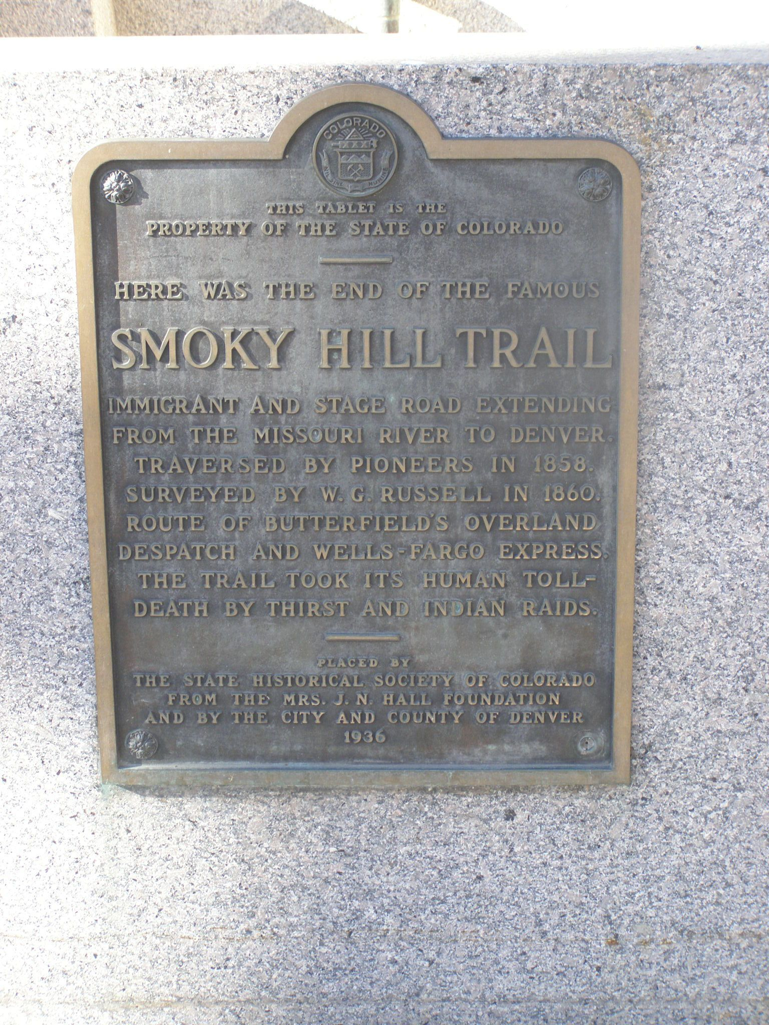 Smoky Hill Trail Historical Marker
