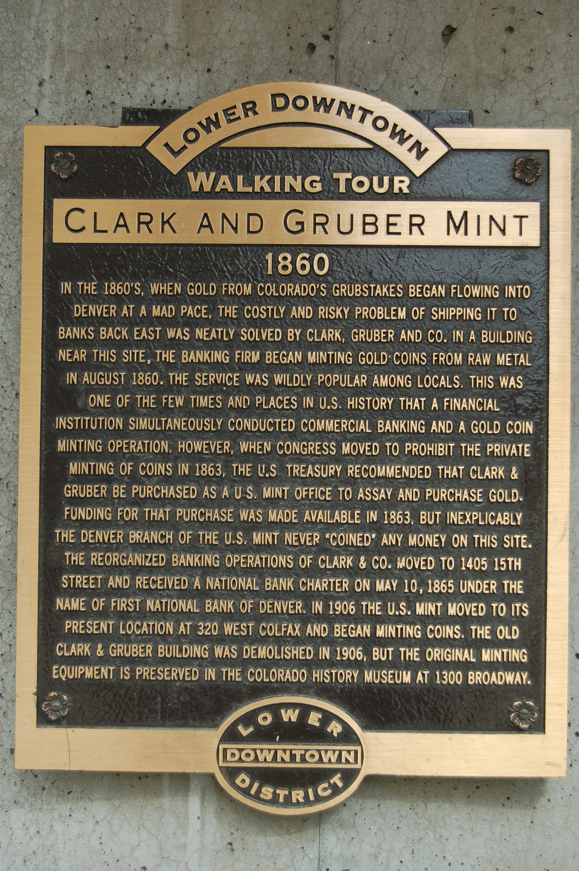 Clark and Gruber Mint historical marker