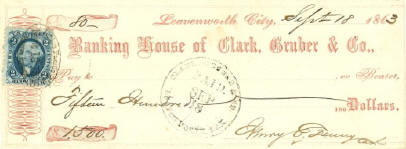 An 1863 check from the Leavenworth office for $1,500.