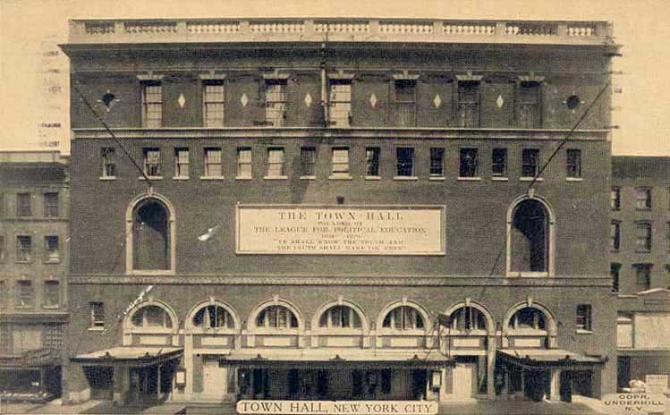 The Town Hall, 1933 (from nycago)