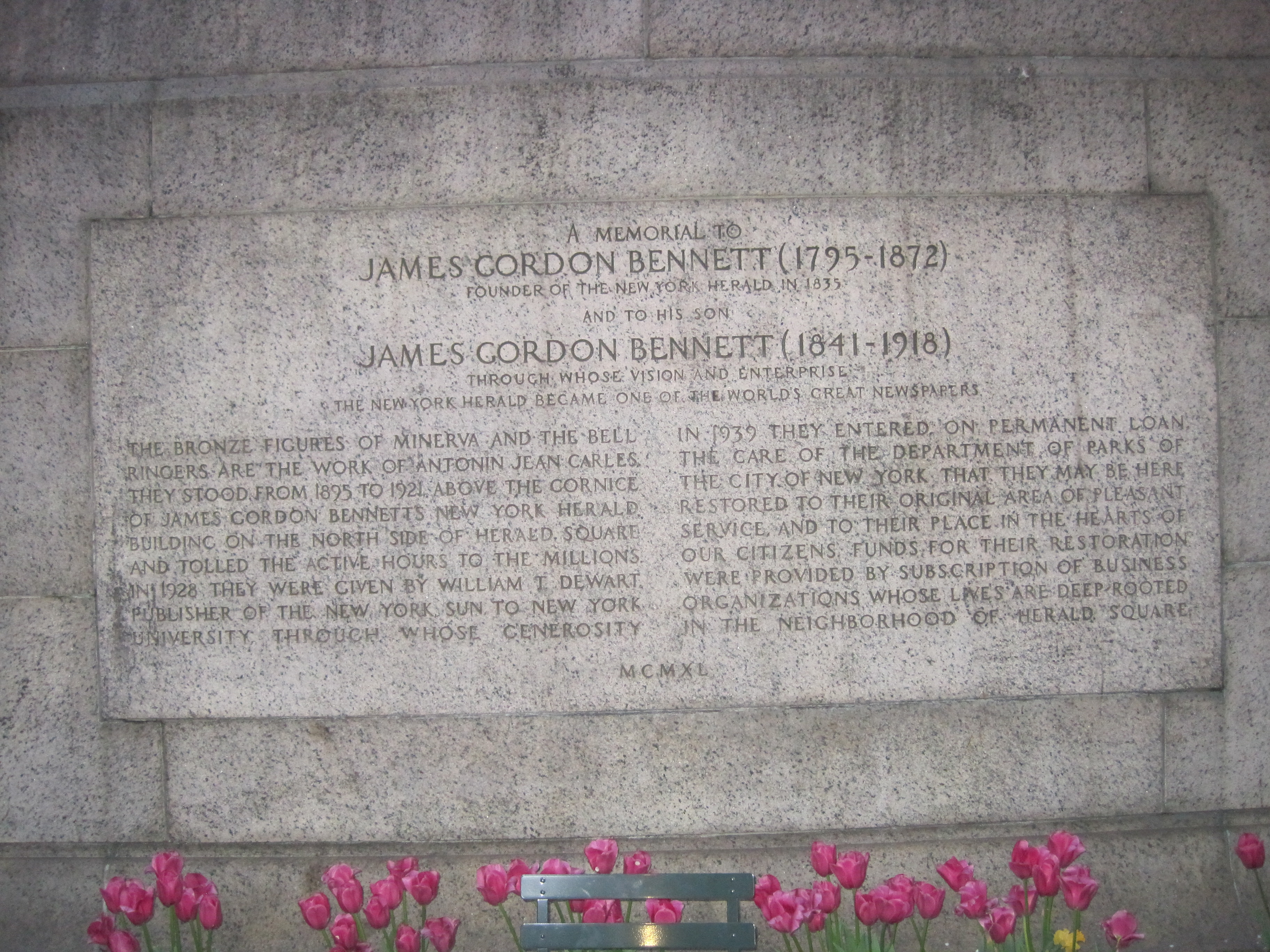 James Gordon Bennett Memorial marker (image from Historic Markers Database)