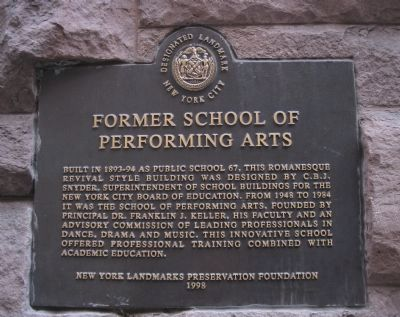 Former School of Performing Arts Historic Marker (image from Historic Markers Database)