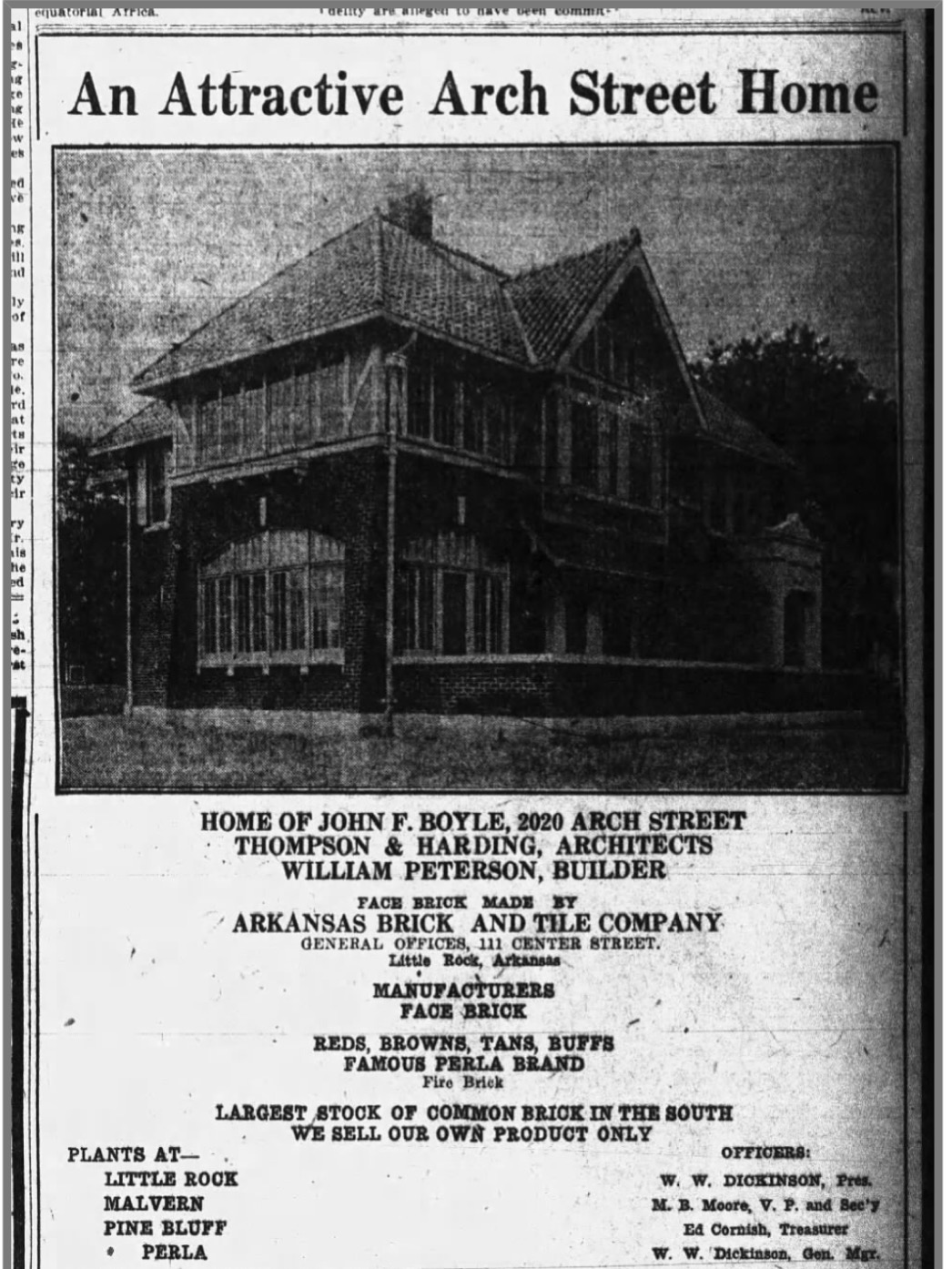 Photograph of the Boyle House featured in the Arkansas Gazette, 1923, February 28