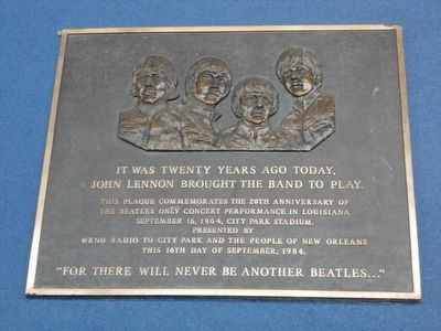 Marker commemorating The Beatles concert in New Orleans