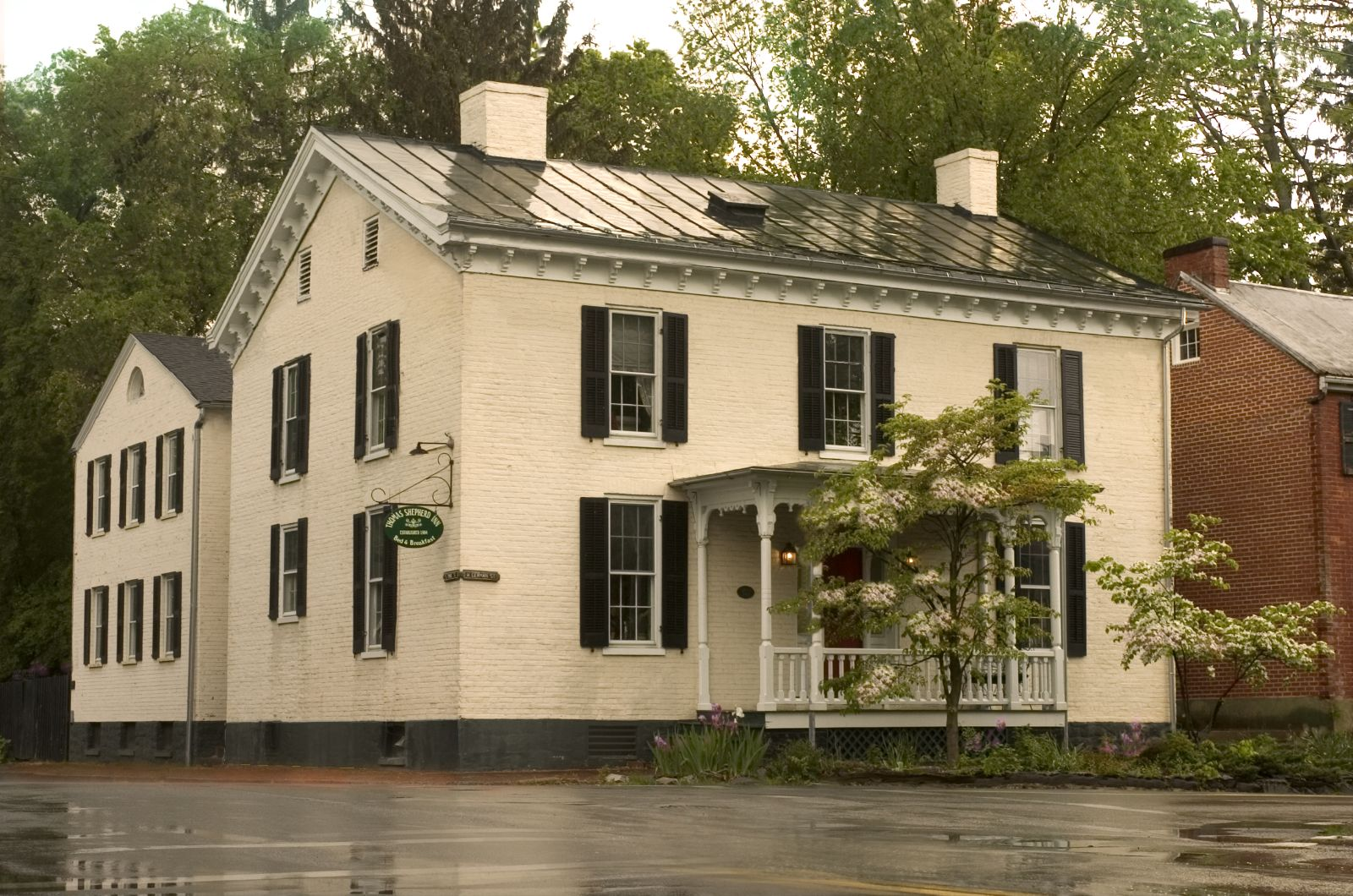 This historic home was converted to a bed and breakfast in the 1980s and was purchased by Lauren and David Duh in 1984.