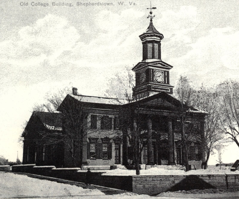 This historic photo depicts the building in the late 19th century when it was the primary academic building.