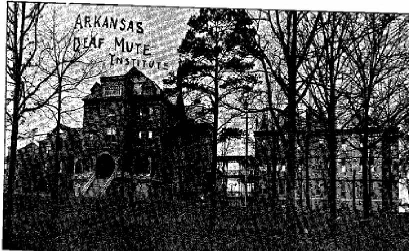 The Arkansas Deaf Mute Institute following the fire of 1899. Image from Riggs, A Brief History of the Education of the Deaf in the State of Arkansas.