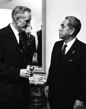 John D. Rockefeller III with Prime Minister Eisaku Sato during his visit to the Japan Society in 1967 (image from the Japan Society)