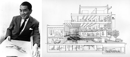 Architect Junzo Yoshimura with one of his drawings for Japan House, 1970 or 1969 (image Copyright © Japan Society)