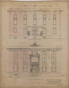 Original architectural drawing of the BPOE Club. Image Credit: UALR Center for Arkansas History and Culture