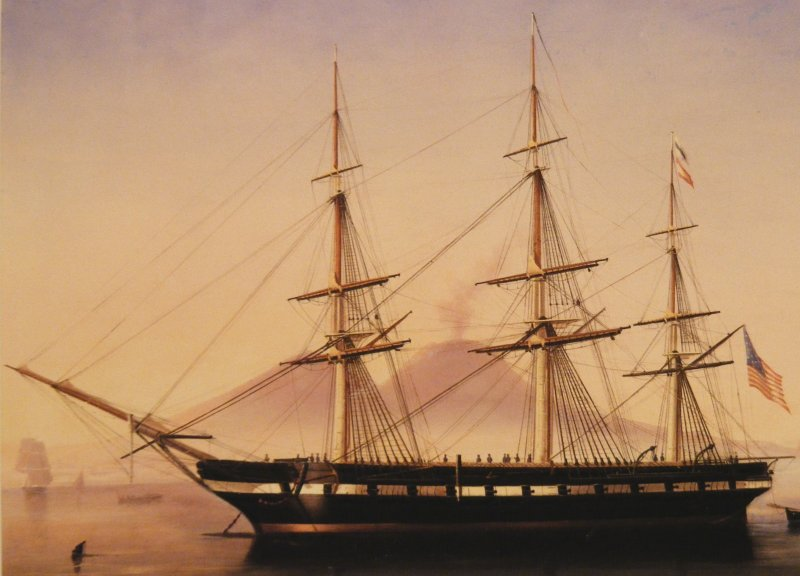 The USS Constellation docked outside of Naples, Italy, in 1856. Painting by DeSimone.