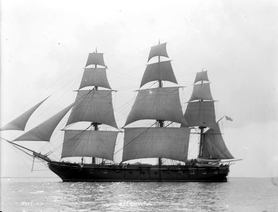 The Constellation at sail sometime between 1890 and 1905. 