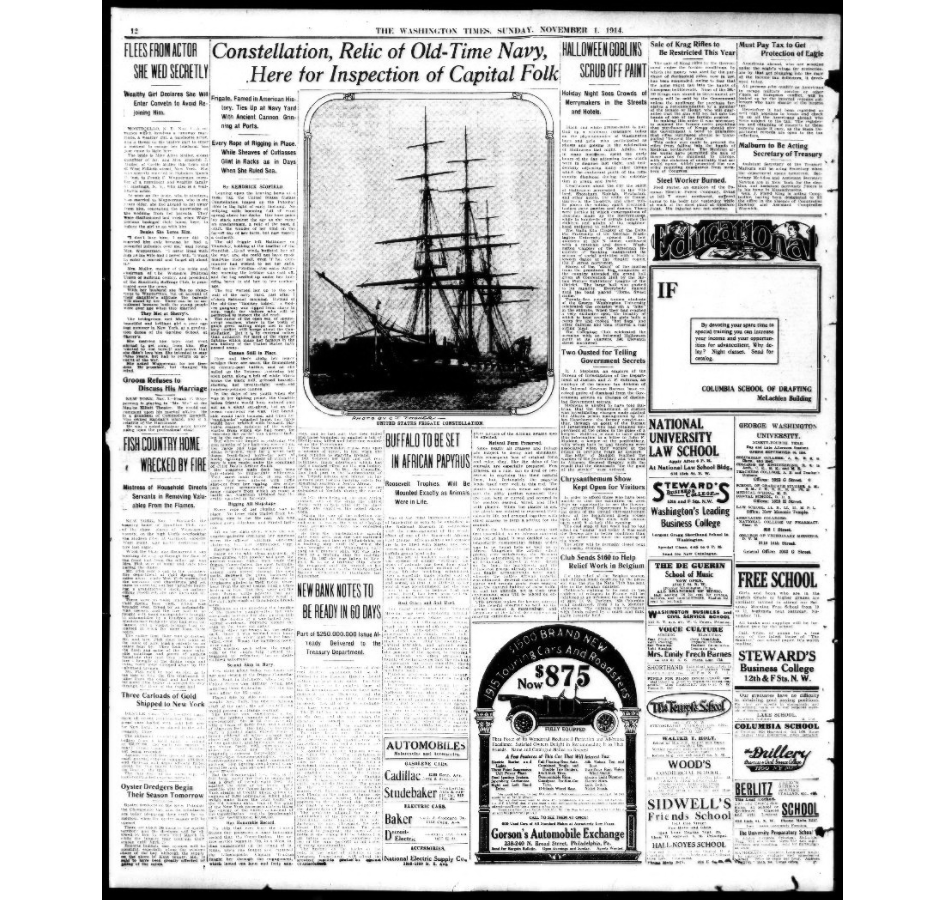 """Constellation, Relic of Old-Time Navy, Here for Inspection of Capital Folk,"" published in Washington Times, November 01, 1914"