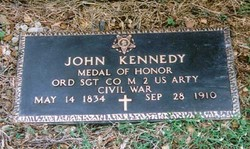 Congressional Medal of Honor recipient John Kennedy's memorial plaque. Photo attributed to David N. Lotz.