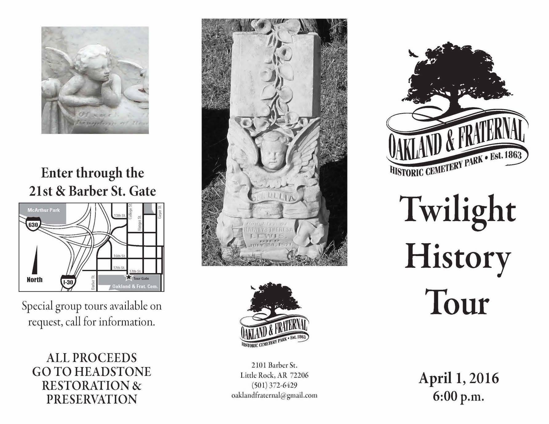 Brochure for the Twilight History Tour on April 1, 2016, page one.  Courtesy of Oaklawn & Fraternal Historic cemetery park.