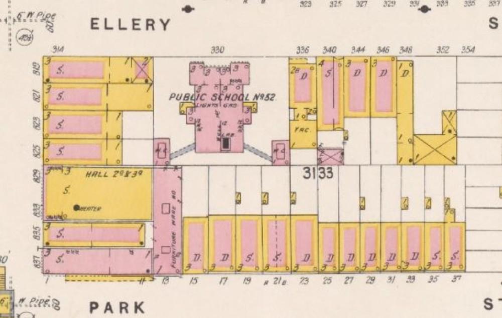 The school building's location in 1904 (brownstoner.com)