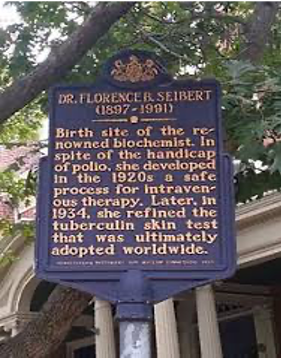 The historical land marker dedicated to Florence Seibert in her home town, Easton, Pennsylvania.