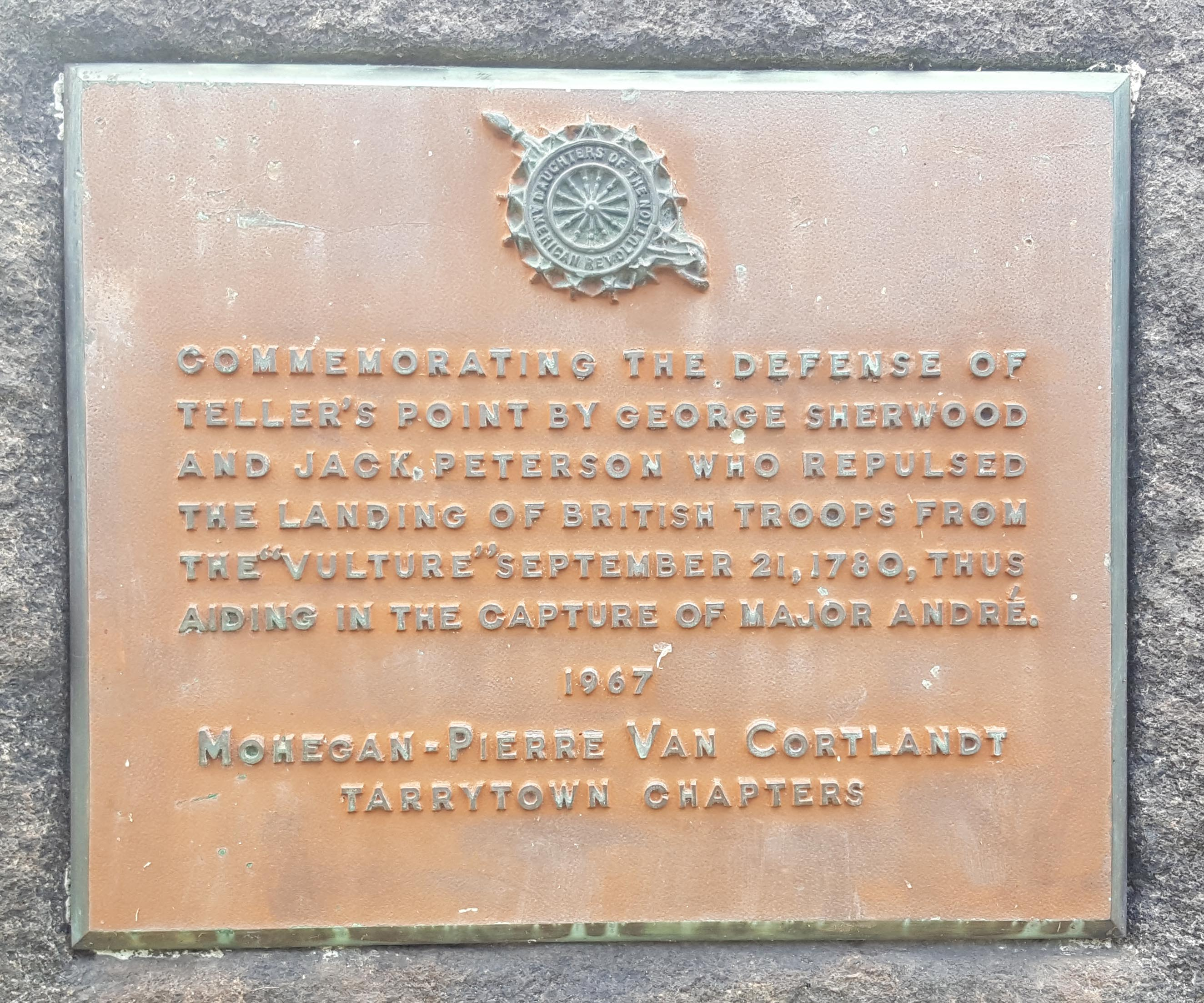 Plaque on the Jack Peterson Memorial at Croton Point Park.  The plaque mistakenly lists Moses Sherwood as George Sherwood.