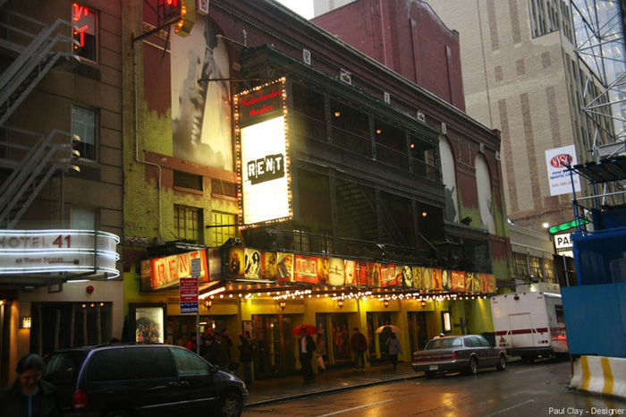 The Nederlander Theatre facade during its nearly 12-year run of Rent (image from Paul Clay Design)