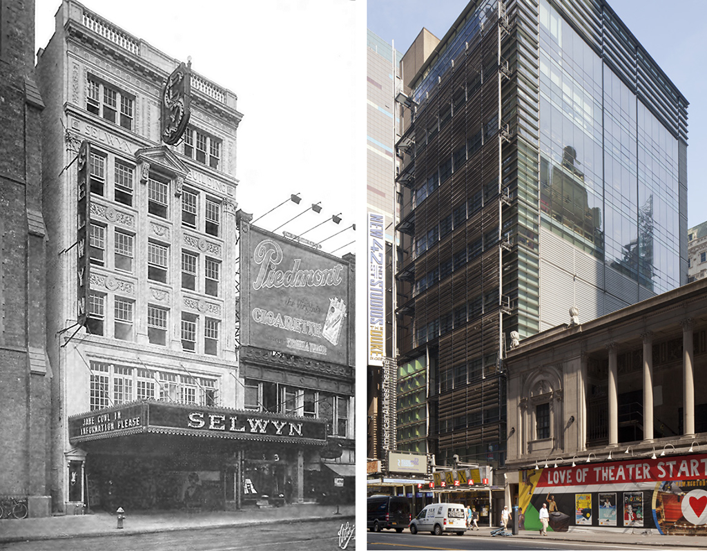 The original Selwyn Theatre and the American Airlines Theatre, then and now (image from Urban Omnibus)