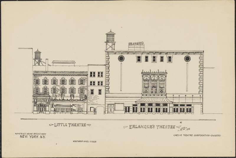 Elevation of Erlanger's Theatre (on right) with the Little Theatre pictured to the left (see The Clio entry for Helen Hayes Theatre) (image from the Museum of the City of New York)