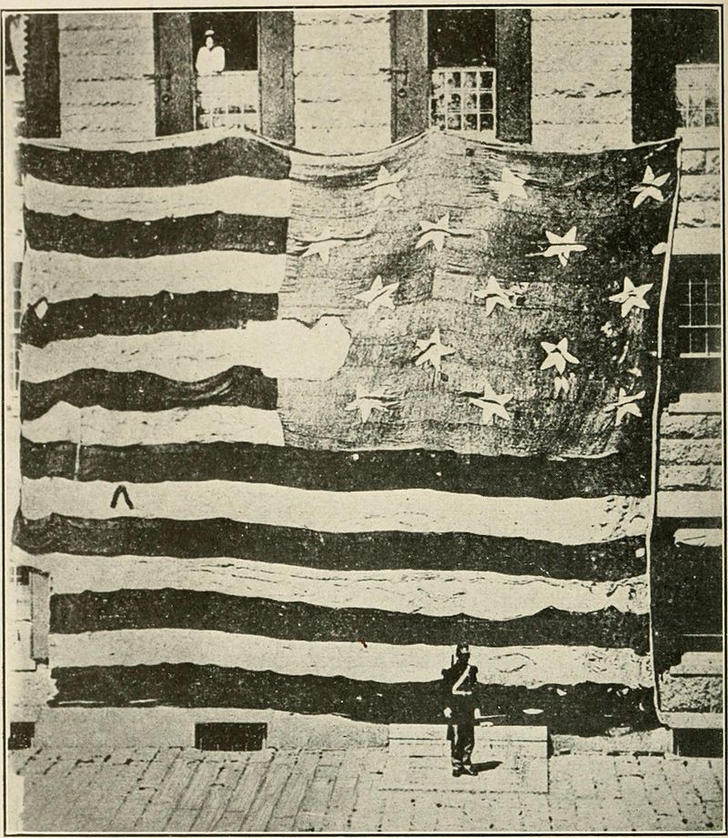 Flag that flew over Fort McHenry in 1814, photographed in 1873