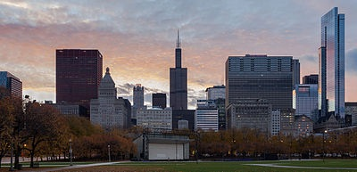 Bandshell with Chicago skyline in background