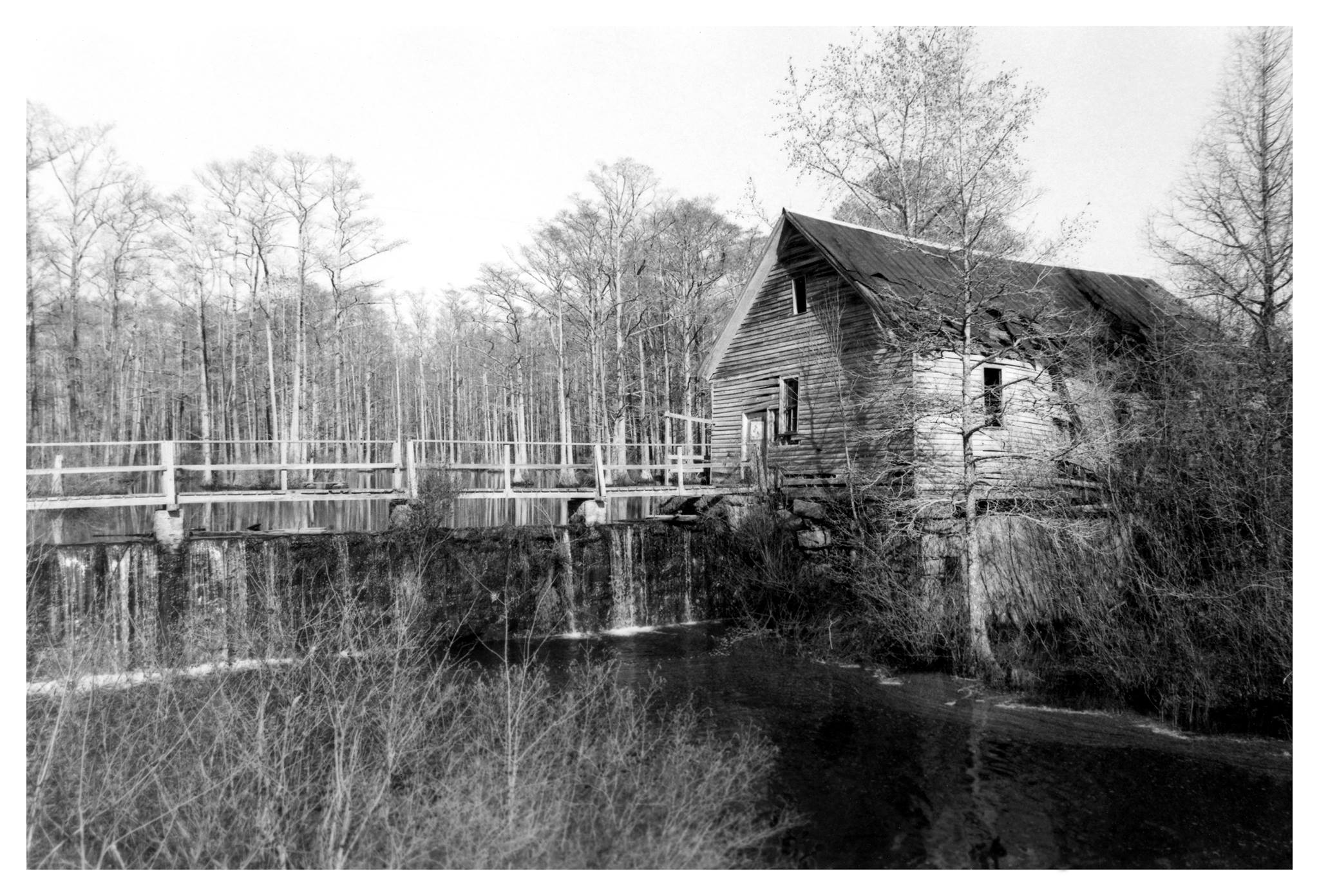 Photo of the Robertson Pond Gristmill during its operation.  (Courtesy of Wake County Parks, Recreation and Open Space.