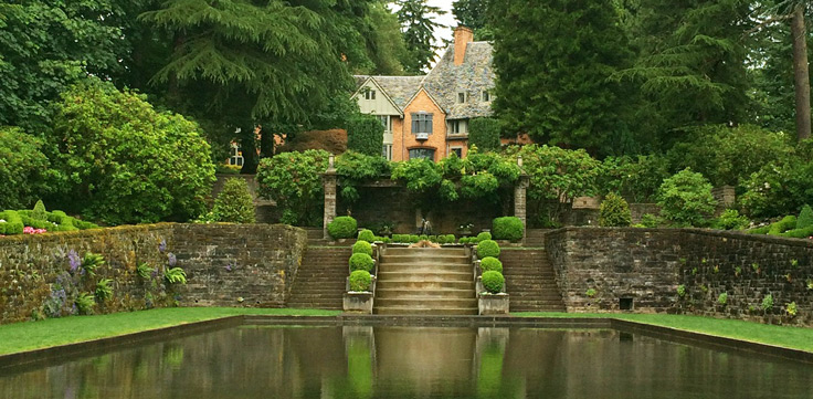 The Manor House and gardens at Lewis and Clark College.  Originally, this was the family home of Lloyd Frank and was gifted to the college in 1942.