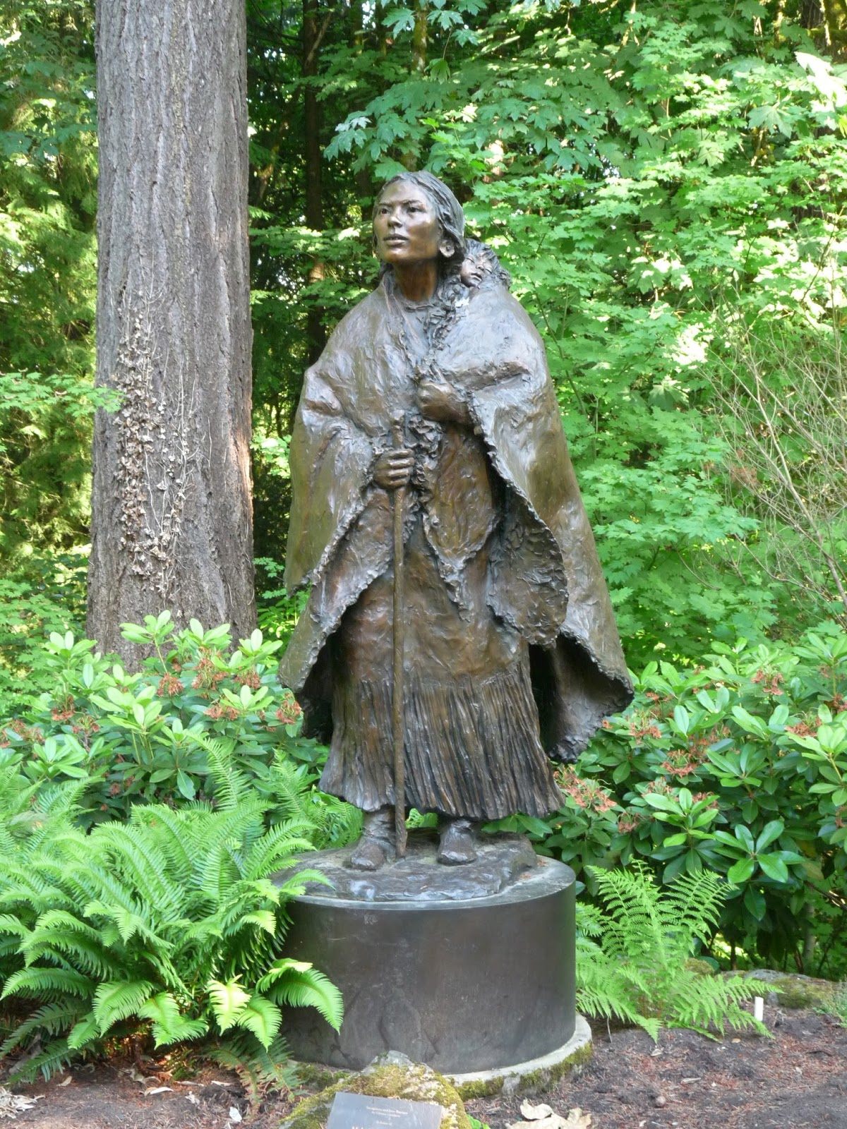 The Sacagawea and Jean Baptiste bronze that stands on the Lewis and Clark College campus.  It was created by Glenna Goodacre, who also designed the gold Sacagawea coin.  It was dedicated in 2004.