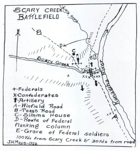 Battle of Scary Creek map