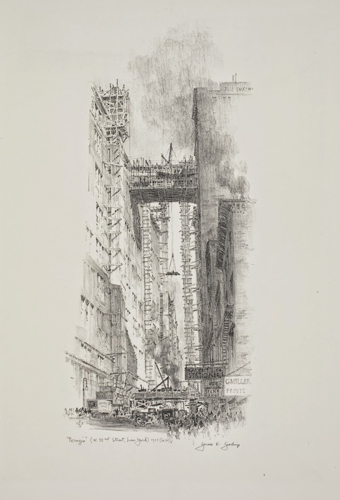 Sketch from 1927 by Gerald K Geerlings, showing the construction of the Gimbels skybridge (www.boweryboyshistory.com)