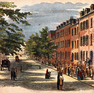Merchant's House depicted on Bond Street, 1857 (image from MHM)