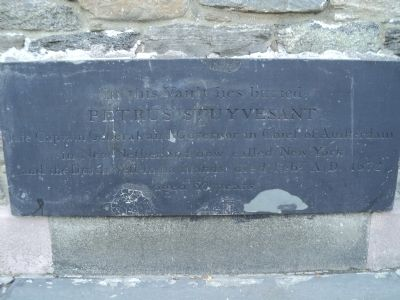 Grave marker of Petrus Stuyvesant (image from Historic Markers Database)