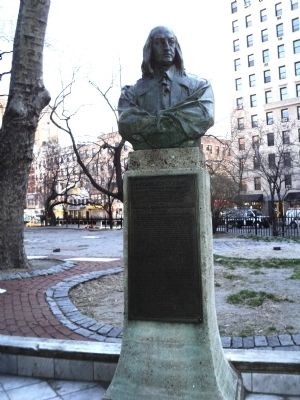 Peter Stuyvesant memorial bust at St. Mark's in-the-Bowery (image from Historic Markers Database)