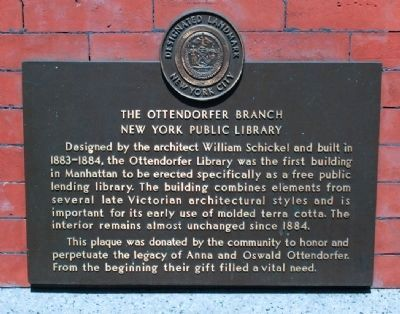 Historic marker for the Ottendorfer Branch of the NYPL (image from Historic Markers Database)