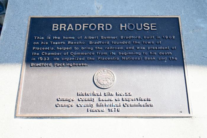 Historical marker at the Bradford House.